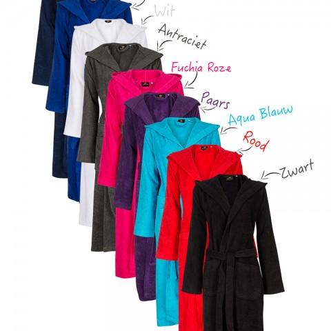 Badjas met borduring - diversen kleuren